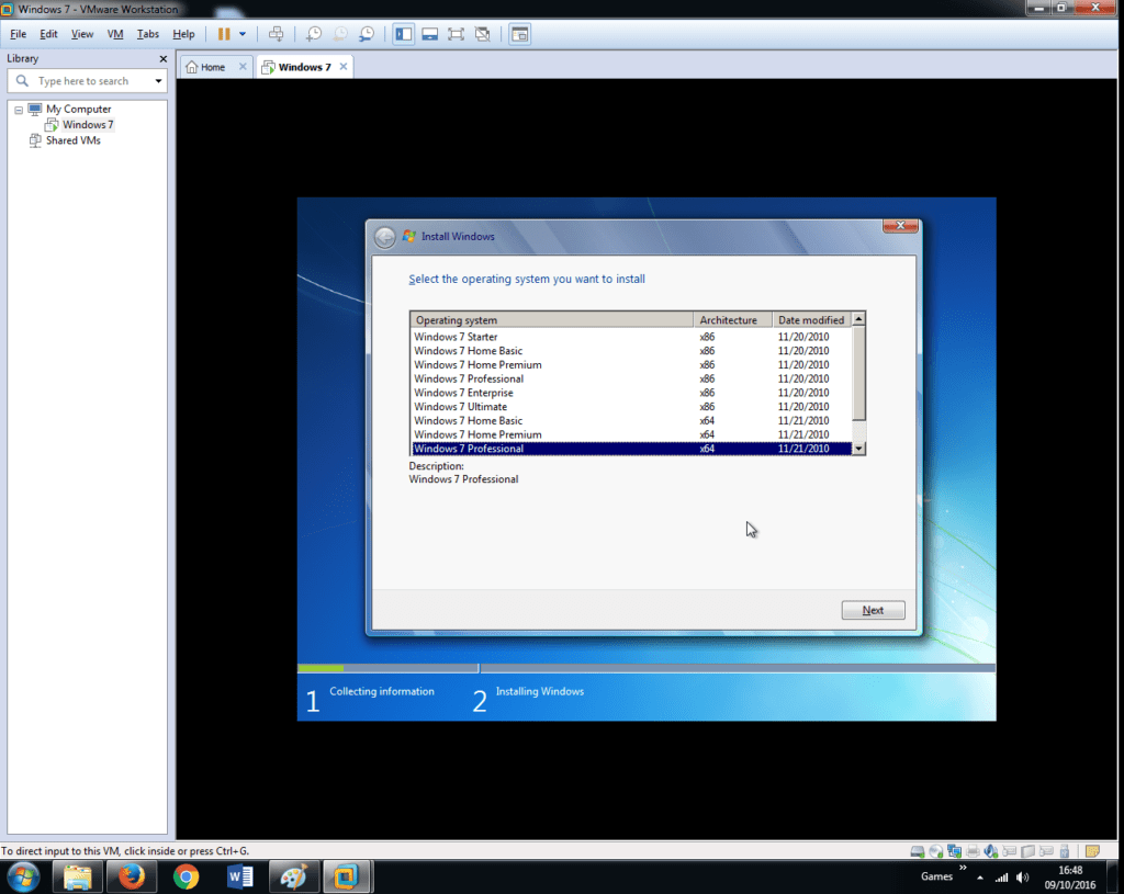 Install Windows 7 on VMware Workstation 12 (23)