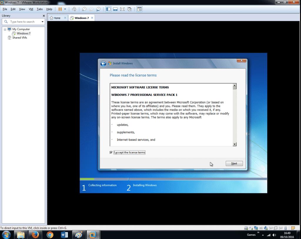 Install Windows 7 on VMware Workstation 12 (24)