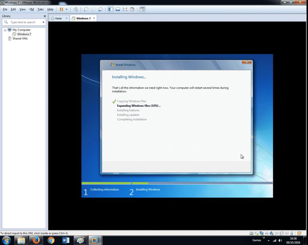 Install Windows 7 on VMware Workstation 12 (31)