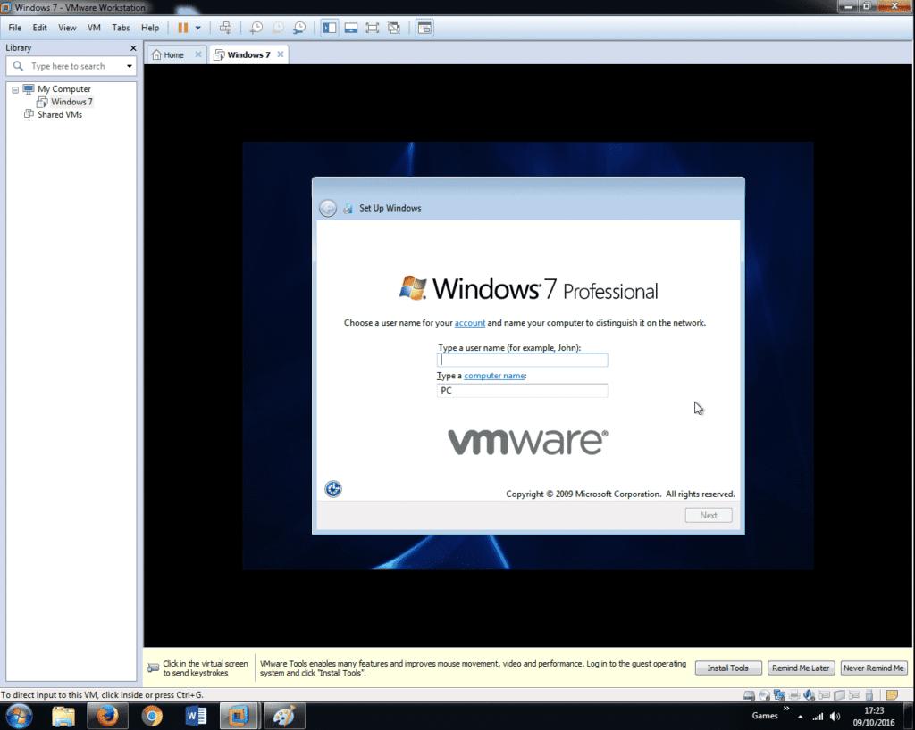 Install Windows 7 on VMware Workstation 12 (32)