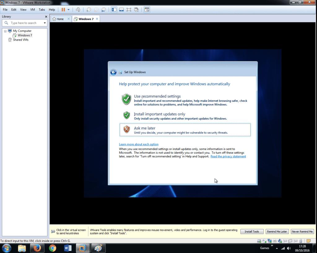 Install Windows 7 on VMware Workstation 12 (34)