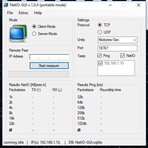 Network Benchmarking NetIO-GUI
